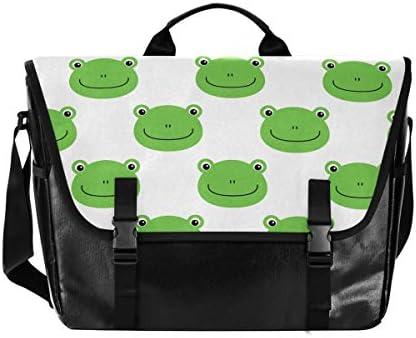 メッセンジャーバッグ メンズ アニマル カエル柄 緑 斜めがけ 肩掛け カバン 大きめ キャンバス アウトドア 大容量 軽い おしゃれ