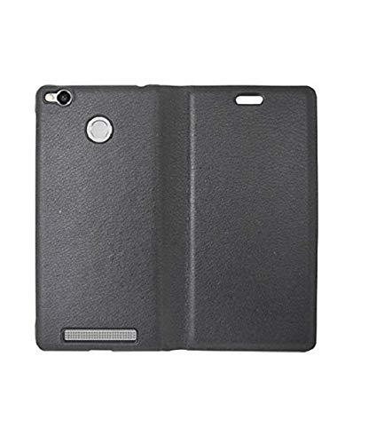 coverage lishen royal leather Flip Cover for mi redmi 3s prime   black