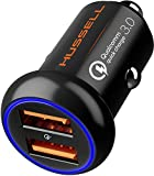 2019 Metal Qualcomm Quick Charge 3.0 Car Charger by HUSSELL - 36W/6A Dual USB Ports QC 3.0 Car Charger Adapter - Smallest Case - NO Risk of Fire and Melting - Compatible with Any iPhone/Galaxy etc.