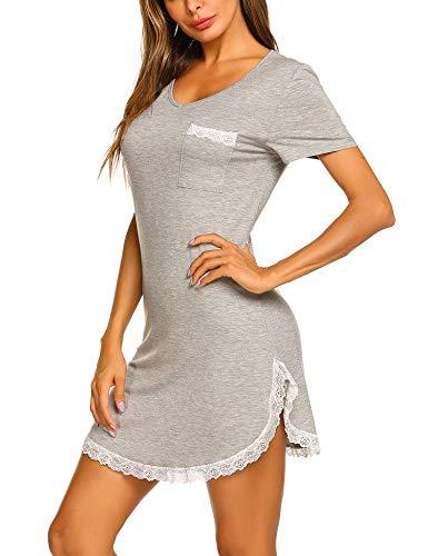 Slit V-neck Tee - Ekouaer Sleepwear Women's Nightgown Soft Sleep Shirt Lace Deocr Short Sleeve V Neck Sleep Tee Nightshirt Light Grey S