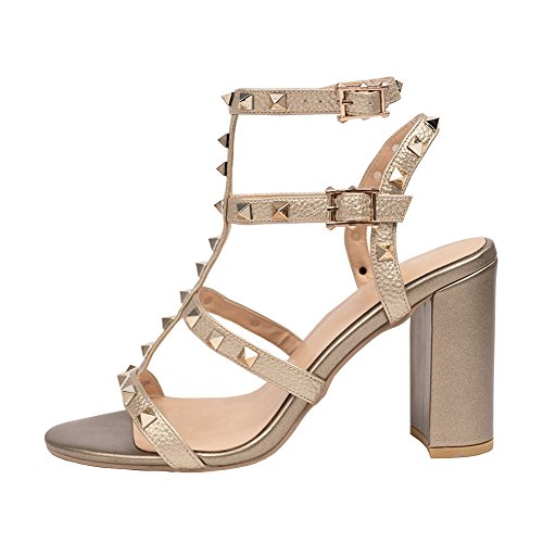 (Comfity Sandals for Women,Rivets Studded Strappy Block Heels Slingback Gladiator Shoes Cut Out Dress Sandals Leather Gold 9cm Size 8.5)