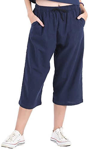 CandyHusky Womens Loose Elastic Waist Cotton Casual Capri Wide Leg Palazzo Pants (S/M, Dark Blue)