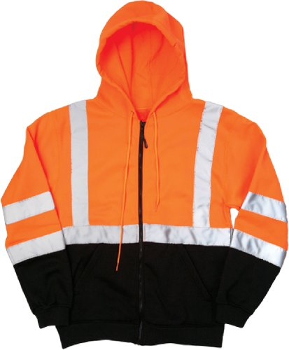 (ML Kishigo JS103 Full Zip Hoodie Sweatshirt with Slash Pockets, 4X-Large, Orange)