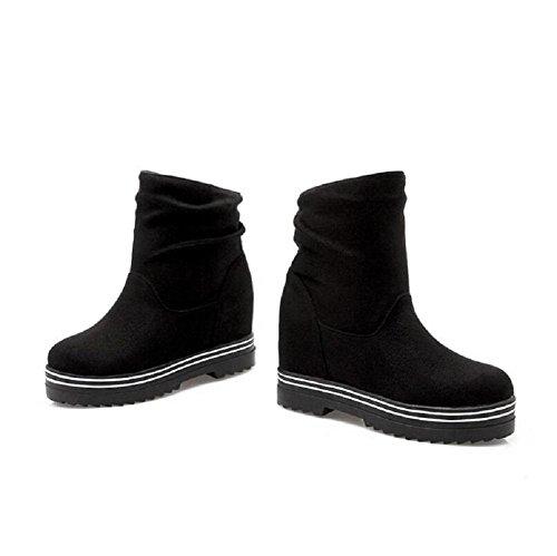 Zapatos high-end del invierno de la mujer para ayudar a aumentar el Morro zapatos ocasionales black