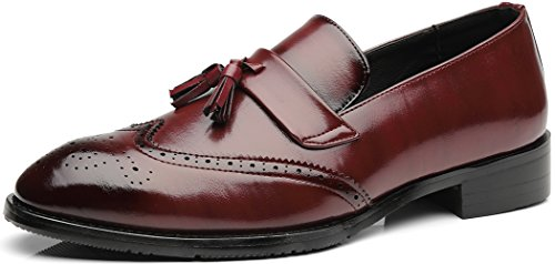 Wing Tip Wine - NJiang Men's Vintage Classic Wing-tip Tassel Penny Loafer Leather Slip-on Casual Business Brogue Dress Shoes (11, Wine Red)