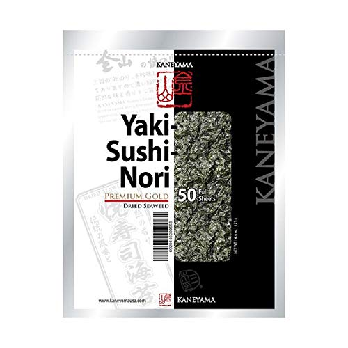 Kaneyama Yaki Sushi Nori/Dried Seaweed, Vacuum Packed/Re-Sealable, Premium Gold Grade, Full, 50 Sheets
