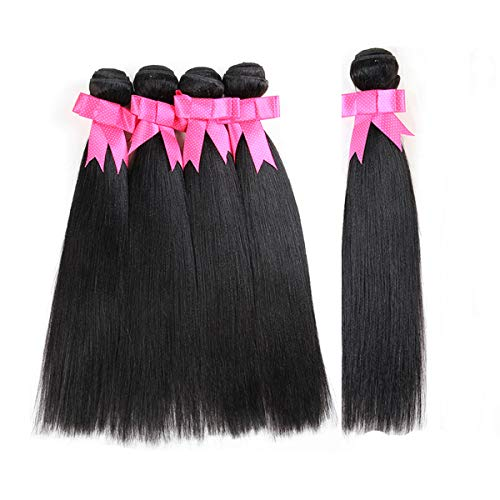Natural Black Synthetic Straight Hair 5 Bundles 300Gm Synthetic Hair Weft Bundles High High Temperature Synthetic Hair Weaving Extensions Heat Resistant Hair As Real Human Hair