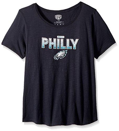 OTS NFL Philadelphia Eagles Female Slub Scoop Distressed Slogan Tee, Jet Black, Large