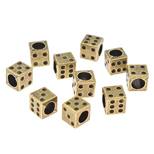 Kesheng 10pcs Metal Dice Beads with Holes for Bracelets Jewelry Making Loose Charms ()