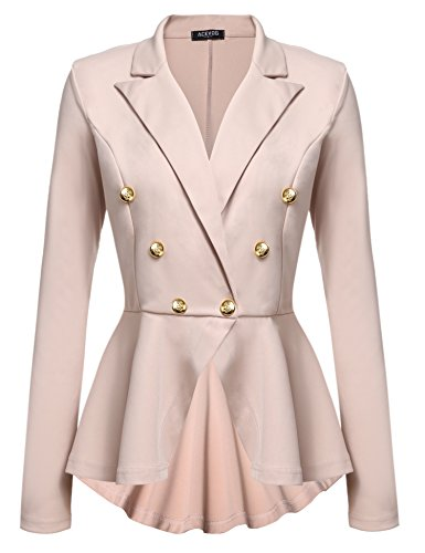 Acevog Women's Ruffles Peplum Long Sleeve Work Office Asymmetry Blazer Jacket Coat