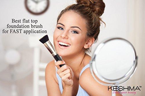 Flat Top Kabuki Foundation Brush By Keshima - Premium Makeup Brush for Liquid, Cream, and Powder - Buffing, Blending, and Face Brush