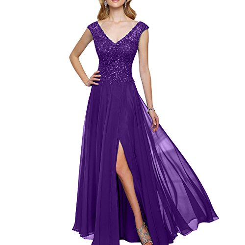 Partykleider La Damen Ausschnitt Promkleider Abschlussballkleider mia Lila Brau V Brautmutterkleider Abendkleider Spitze Langes rpPrtqg