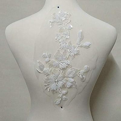 1pcs Sequins Embroidery Lace Patch Flowers Applique Wedding