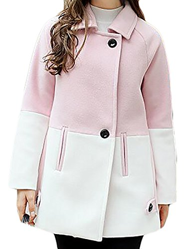 Cruiize Womens One Button Peacoat Splice Loose Wool Blend Overcoat Outwear Pink Small