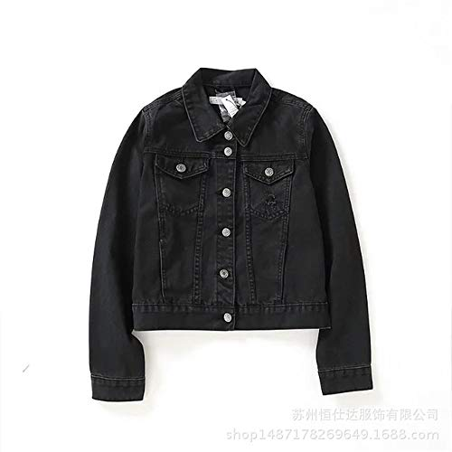 F1rst Rate Jean Jacket Women's Washed Button Up Cropped Denim Jacket(Black-Medium)