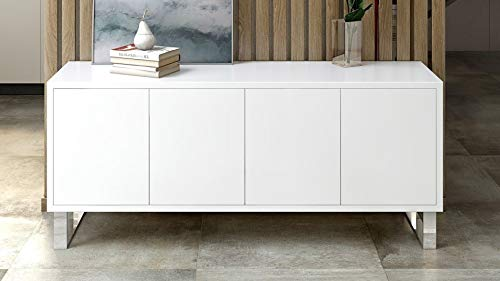 Zuri Furniture Modern Neve Sideboard in White High Gloss Lacquer with Polished Stainless Steel Legs (Lacquer White Sideboard Buffet)