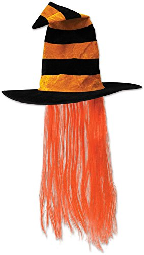 [Beistle 00713-O Witch Hat with Hair] (Girls Festive Witch Costumes)
