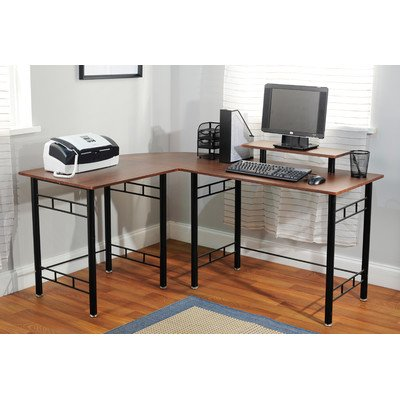 target marketing systems modern lshape wrap corner desk with raised hutch for computer monitor espresso