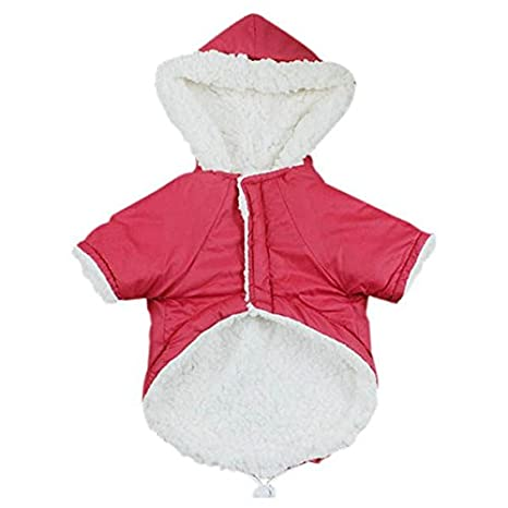 TOOGOO (R) Ropa de invierno para perros pequeños abrigos cálidos para mascotas abrigo perro ropa bulldog francés chihuahua mascota ropa roja L: Amazon.es: ...