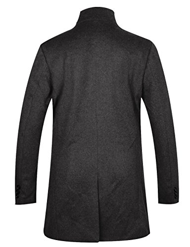 APTRO Men's Wool French Front Slim Fit Long Business Coat Black XL by APTRO (Image #2)