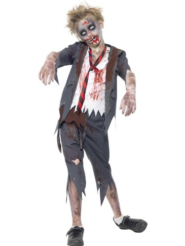 Smiffys Tween's Zombie School Boy Costume, Trousers, Jacket, Mock Shirt and Tie, Serious Fun, Ages 12+, 43022 ()