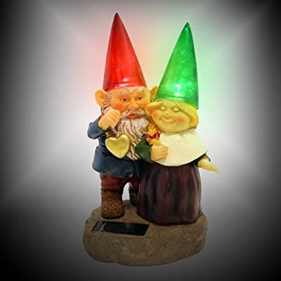 Gnomes holding hearts and flower with Solar Powered Light Garden Statue Yard Art Outdoor Patio - Outdoor Figurine Lights - .com