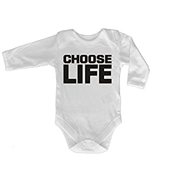 9e3a6b523b8cc 123t Baby CHOOSE LIFE DESIGN Babygrow (0-3 Months LONG SLEEVE - White)