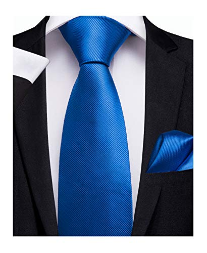 (DiBanGu Solid Tie and Pocket Square Men's Woven Necktie Silk Handkerchief Sets (Blue))