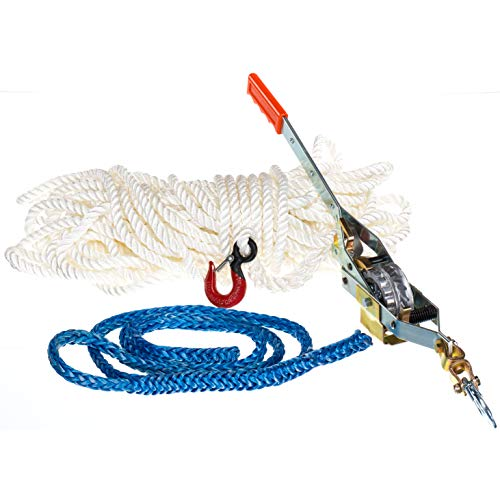 Maasdam Rope Puller Kit- with 150' Rope, Spliced Hook and Loopie Sling