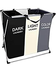 laundry hamper sorter clothes basket for Bathroom Bedroom Home College Use, 2 Sections hampers with Aluminum Frame