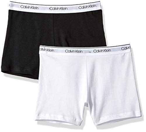 Calvin Klein Big Girls' Playshort (Pack of 2), White, Black, Medium (7/8) ()