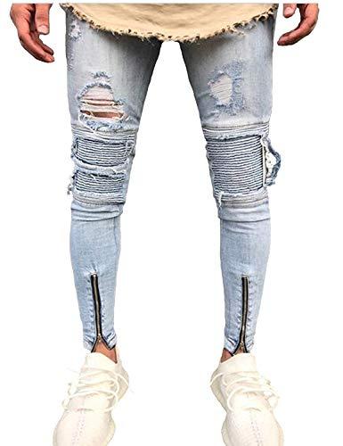 Uomo Con In Casual Jeans Stretch Comodo Pantaloni Battercake Skinny Da Fori Strappati Denim Colour Pants qZUXnwS8