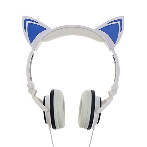 Cat Ear Headphones, KOMRT Blinking Kids Headphones Fashion Glowing Cosplay Headset, Foldable Over-Ear Gaming Headsets with LED Light for Girls, Children, Compatible for iPhone 6S, Android Phone PC