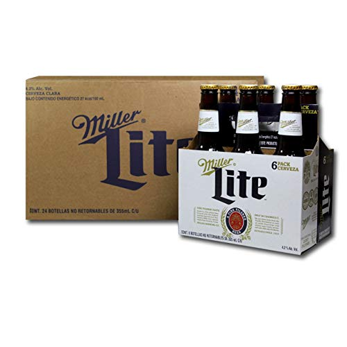 Cerveza Miller Lite Botella - Caja con 4 Six Packs de 355 ml