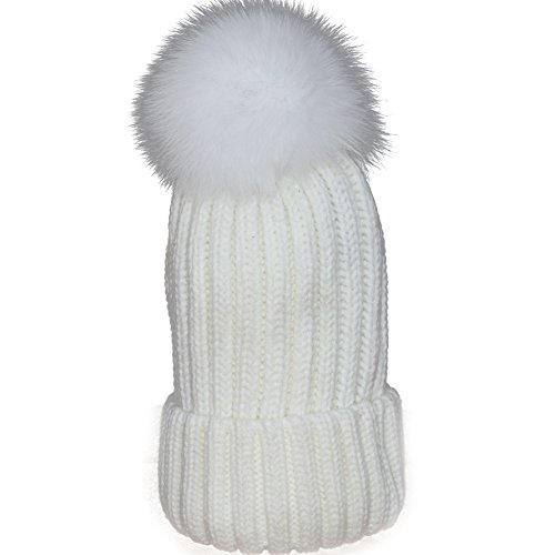 2462784566c Mfurs Womens Winter Fur hats Real Large Removable Fox Fur Pom Pom Beanie Hat  (White) - Buy Online in KSA. Apparel products in Saudi Arabia.