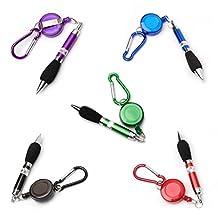 5pcs Retractable Badge Reel Pen Belt Clip and Carabiner