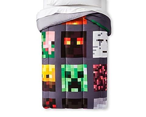 MineCraft Good vs Evil Microfiber Children Bedding Set TWIN Comforter and Sheets (Evil Twin)