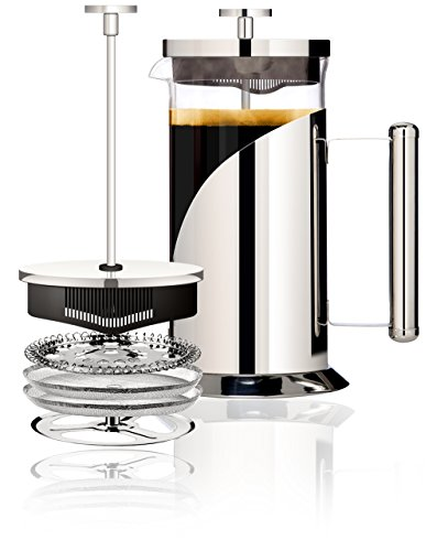 Cafe Du Chateau 34oz French Press Coffee Maker, 4 On Filtration System, 304 Grade Stainless Steel, Heat Resistant Borosilicate Glass