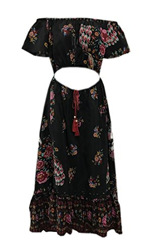 Maxi Out BLTR Dress Off Elastic Cut Women Floral Waist Shoulder Black Flowy Beach qBvqX