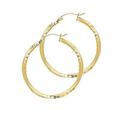 14K Yellow Gold 2.6mm Diamond Cut Satin Hoop Earrings - (Diameter - 30 MM) by Top Gold & Diamond Jewelry