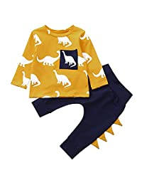 LIKESIDE Infant Baby Boys Girls Long Sleeve Dinosaur Print Tops+ Pants Outfits