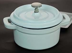 Redondos de esmalte de hierro fundido Buckingham Olla/para souflé/ramequínes de tapa pomo de acero inoxidable, blanco