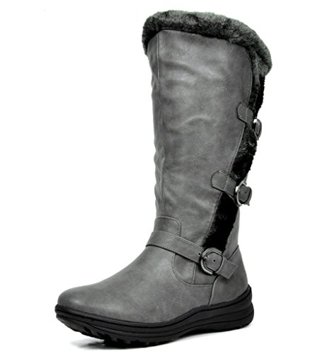 en's Winter Fully Fur Lined Triple Buckle Ruched Snow Knee High Boots Grey PU Size 5.5 ()