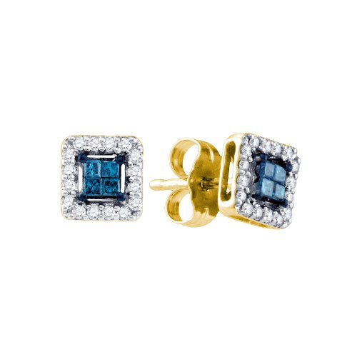 Dazzlingrock Collection 0.25 Carat 14K Diamond Invisible Earrings, Yellow Gold