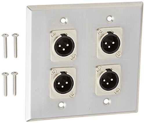 Seismic Audio SA-PLATE31 Stainless Steel Wall Plate 2 Gang with 4 XLR Male Connectors for Cable - Male Panel Xlr