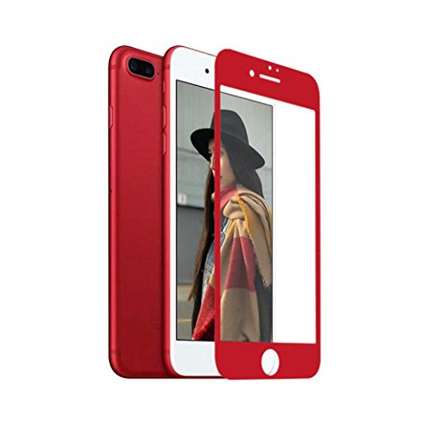 for iPhone 8/8 Plus Protector -2017, Leewa@ Tempered Glass Screen Film Protector for iPhone (Red, iPhone 8 Plus 5.5 inch)