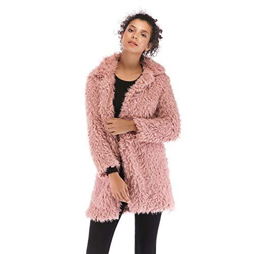 Longue Ample Coat Fausse Épais Top Rose Fourrure Blouson Hiver Longues Large Pardessus Jacket Haut Peluche Col De Manches Chaud Manteau Veste Pxa1qwS