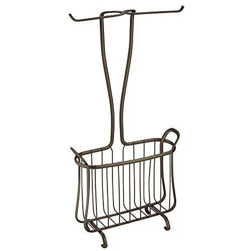 InterDesign Axis Free Standing Toilet Paper Holder and Newspaper and Magazine Rack for Bathroom - Bronze