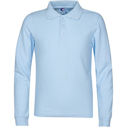 - Mens Light Blue Long Sleeve Polo Shirts Small