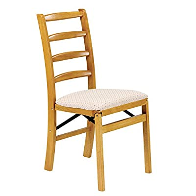 Stakmore Shaker Ladderback Folding Chair Finish, Set of 2, Oak - Premium solid wood construction Blush fabric upholstered seat No assembly required - kitchen-dining-room-furniture, kitchen-dining-room, kitchen-dining-room-chairs - 41isNx4pFlL. SS400  -